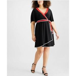 NY Collection Wrap Dress Black Red Petite 1XP